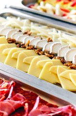 Buffet trays with a various delicious appetizers