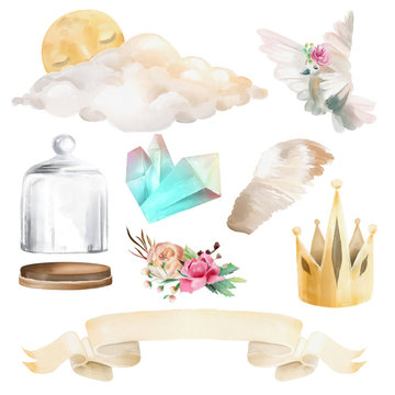 Beautiful, cute watercolor fantasy, magic set. Glass mason jar, pigeon, pegasus wings, golden crown, cloud and moon, ribbon, crystals and floral flowers bouquet