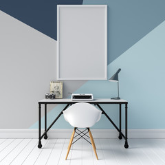 Frame Mockup in Interior with Geometric Style Wall