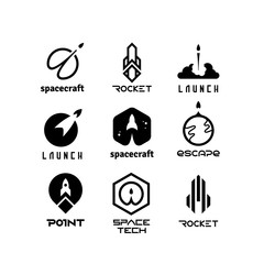Space flying rockets, launching shuttles, spaceship, aviation vector logos isolated