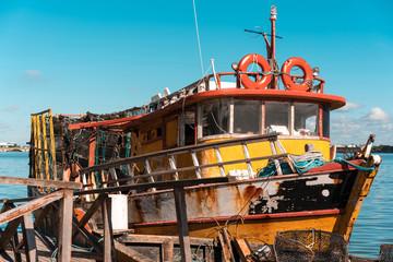 Fishing boat in the Porto in Recife, Pernambuco Brazil