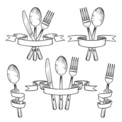 Silverware, cutlery, dinner table utensils. Knife, spoon and fork in retro banner ribbons hand drawing set. Kitchen vector emblems