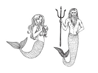 Mermaid and Neptune holding trident, hand drawn outline doodle sketch, black and white vector illustration