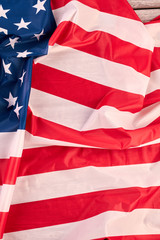 USA flag background, vertical image. Flag of America, top view. Symbol of country.