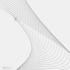 Tech background with abstract wave line. Vector illustration.