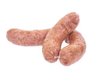 Polish sausage isolated on white background.