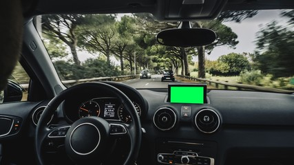 POV car driving on beautiful road between trees. Car driver hand. Green screen. Chroma key. Provence-Alpes-Cote dAzur. France