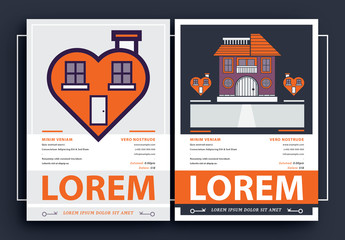 Event Poster Layout Set with Heart House Illustrations