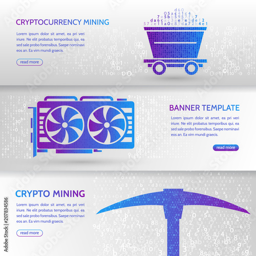 Cryptocurrency concept banner background with trolley, video card