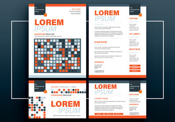 Flyer Layout Set with Orange and Blue Square Elements