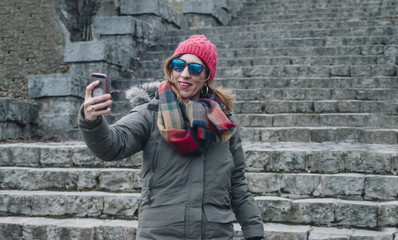 attractive woman doing a selfie