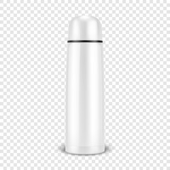 Vector realistic 3d wgite empty glossy metal vacuum thermo tumbler flask closeup isolated on transparency grid background. Design template of packaging mockup for graphics. Front view