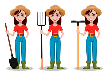 Female farmer cartoon character