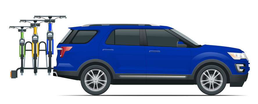 Suv car is transporting bicycles loaded on the Back of a Van. Side view. Flat style illustration isolated on white background