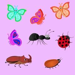 Насекомые, жуки, бабочки, муравей