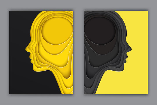 Modern postcards with layered cut out colored paper human profile. Creative thinking, complexity of human nature concept. Paper head of man or woman