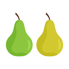 Simple, flat pear illustration. Two color variations. Isolated on white