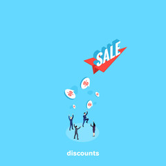 paper airplane with the word sale and people in business suits catch interest from the sky, isometric image