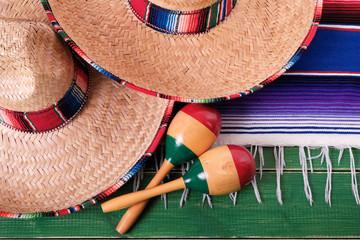 Mexico cinco de mayo festival mexican sombrero maracas closeup top view