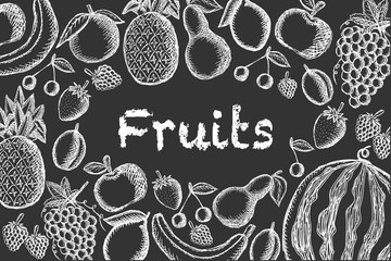 Vector image of chalk-drawn fruits on a dark background with the inscription centered. Graphic illustration.