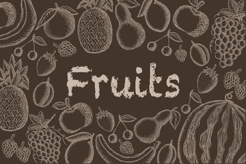 Vector image of painted fruits on a brown background with an inscription in the center. Graphic vintage illustration.