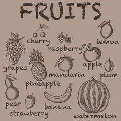 Vector image of the drawn fruit on a brown background with the inscriptions under each icon. Graphic vintage illustration.