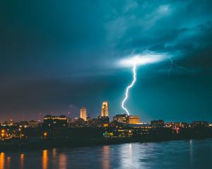 Omaha Skyline with Lightning