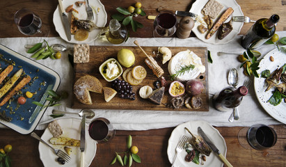 Fototapeta Rustic style dinner with cheese platter