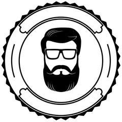 Man beard emblem vector icon