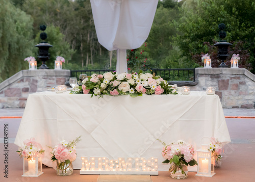 """Main Table Wedding Decoration With Mr. And Mrs. Lit Sign"
