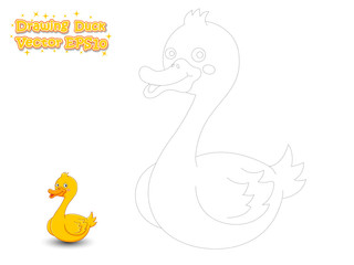 Drawing and Coloring Cute Cartoon Duck. Educational Game for Kids. Vector Illustration.