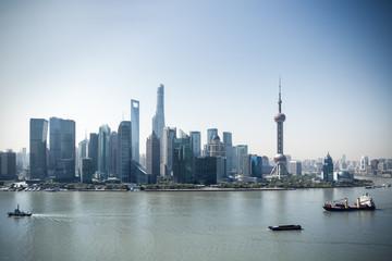Fotobehang - shanghai skyline and beautiful huangpu river