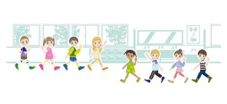 子供達と背景のイラスト