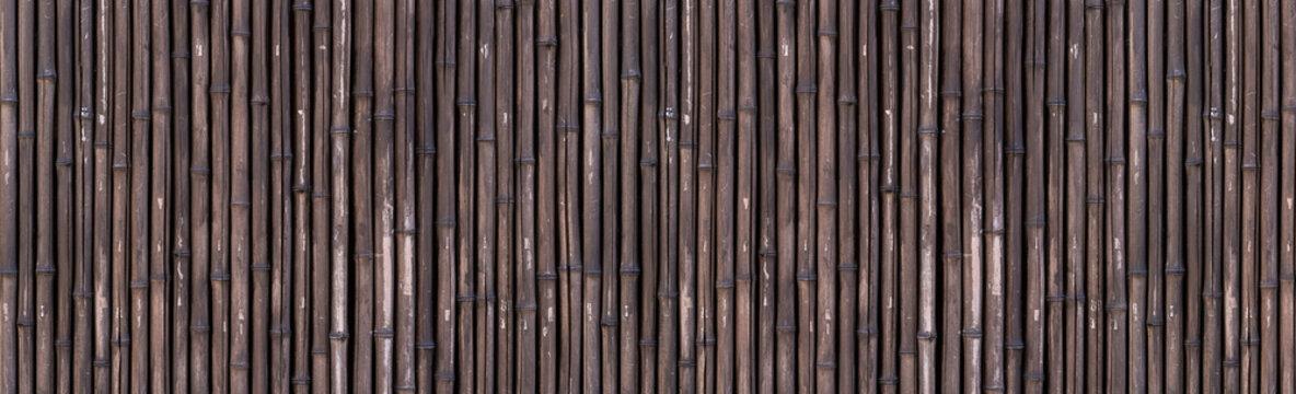 Panorama of bamboo fence background