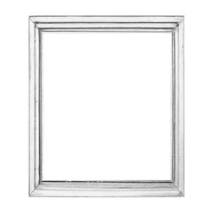 Vintage white wood photo frame isolated on white background