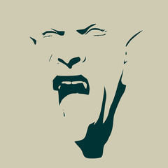 Fantasy head of orc with open mouth. Evil and ugly