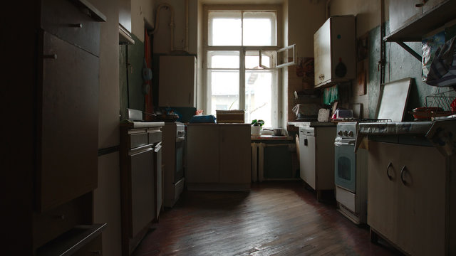 Old kitchen of a communal flat in St. Petersburg, Russia