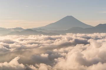 Mountain Fuji and Lake Tanumi with beautiful sunrise in winter season. Lake Tanuki is a lake near Mount Fuji, Japan.