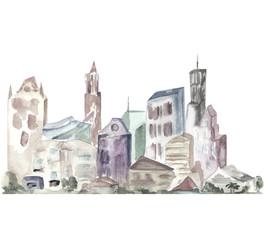 серый город акварель