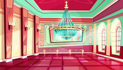 Vector cartoon castle palace ballroom interior background with royal furniture - big windows, chandelier at middle and candles at walls. Luxury medieval rich room in fairytale style.