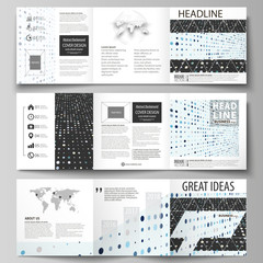 Business templates for tri fold square brochures. Leaflet cover, abstract flat layout. Soft color dots with illusion of depth and perspective, dotted background. Modern elegant vector design.