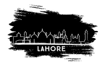 Lahore Pakistan City Skyline Silhouette. Hand Drawn Sketch.