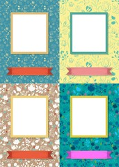 Floral frames for picture with banners for text