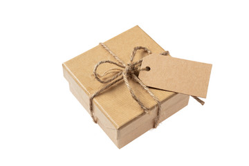 Beige isolated recycle gift box with tag on a white background