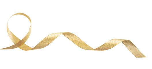 Golden satin ribbon isolated on white background, banner