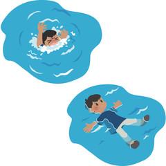 溺れる男性と背浮きする男性
