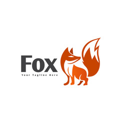 Fox stand cartoon logo