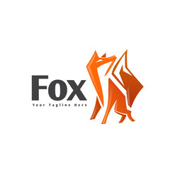 abstract Stand fox looking up logo