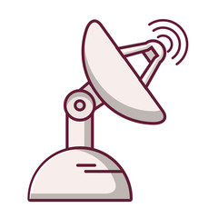 Communication parabolic satellite dish space receivers.Transmitting signal on the surface of the planet.Wireless technology cartoon flat.Line art.