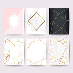 Marble with golden texture background design collection  for wedding card, book cover, banner and luxury website vector illustration set